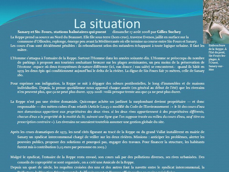 La situation La Reppe prend sa source au Nord du Beausset. Elle file sous terre (hors crue), traverse Evenos, jaillit en surface sur la commune dOllio