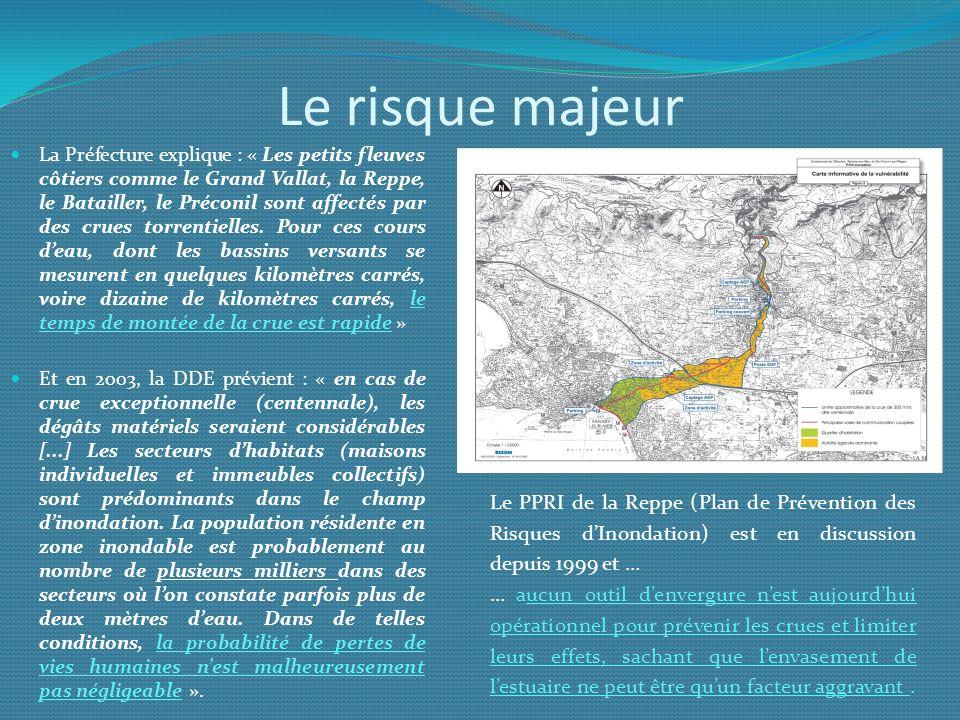 Le risque majeur La Préfecture explique : « Les petits fleuves côtiers comme le Grand Vallat, la Reppe, le Batailler, le Préconil sont affectés par de