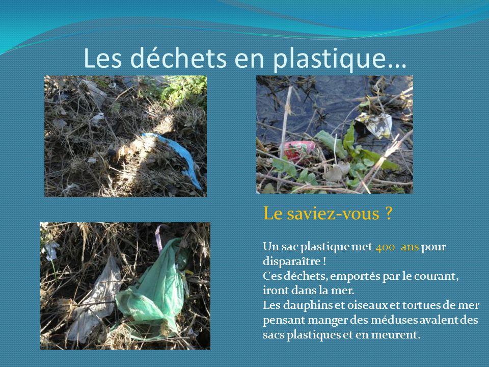 Les déchets en plastique… Le saviez-vous ? Un sac plastique met 400 ans pour disparaître ! Ces déchets, emportés par le courant, iront dans la mer. Le