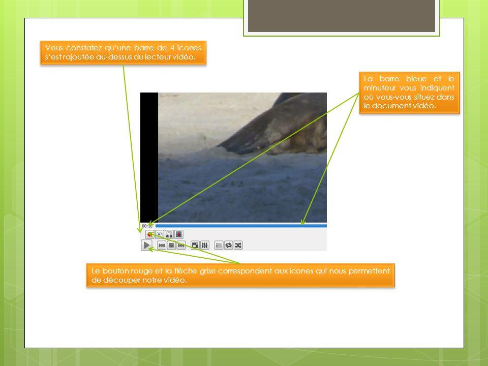 Vous constatez quune barre de 4 icones sest rajoutée au-dessus du lecteur vidéo. Le bouton rouge et la flèche grise correspondent aux icones qui nous