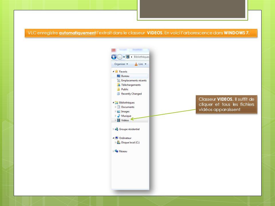 VLC enregistre automatiquement lextrait dans le classeur VIDEOS. En voici larborescence dans WINDOWS 7. Classeur VIDEOS. Il suffit de cliquer et tous