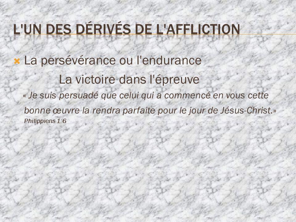La persévérance ou l endurance La victoire dans l épreuve « Je suis persuadé que celui qui a commencé en vous cette bonne œuvre la rendra parfaite pour le jour de Jésus-Christ.» Philippiens 1:6