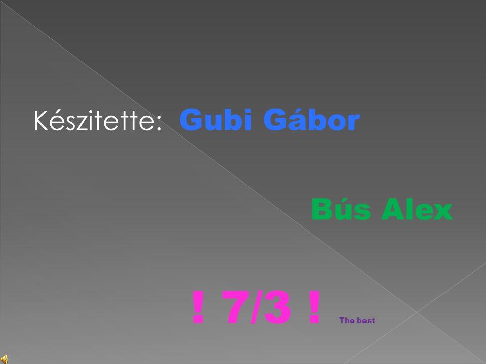 Készitette: Gubi Gábor Bús Alex ! 7/3 ! The best