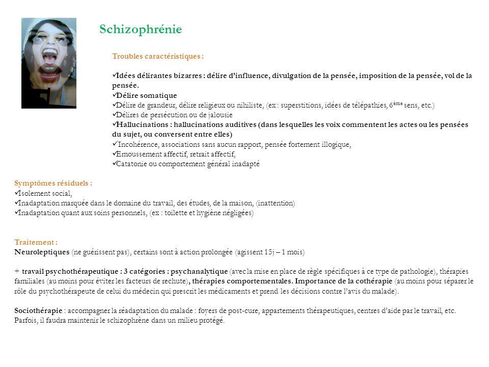 Schizophrénie Troubles caractéristiques : Idées délirantes bizarres : délire dinfluence, divulgation de la pensée, imposition de la pensée, vol de la