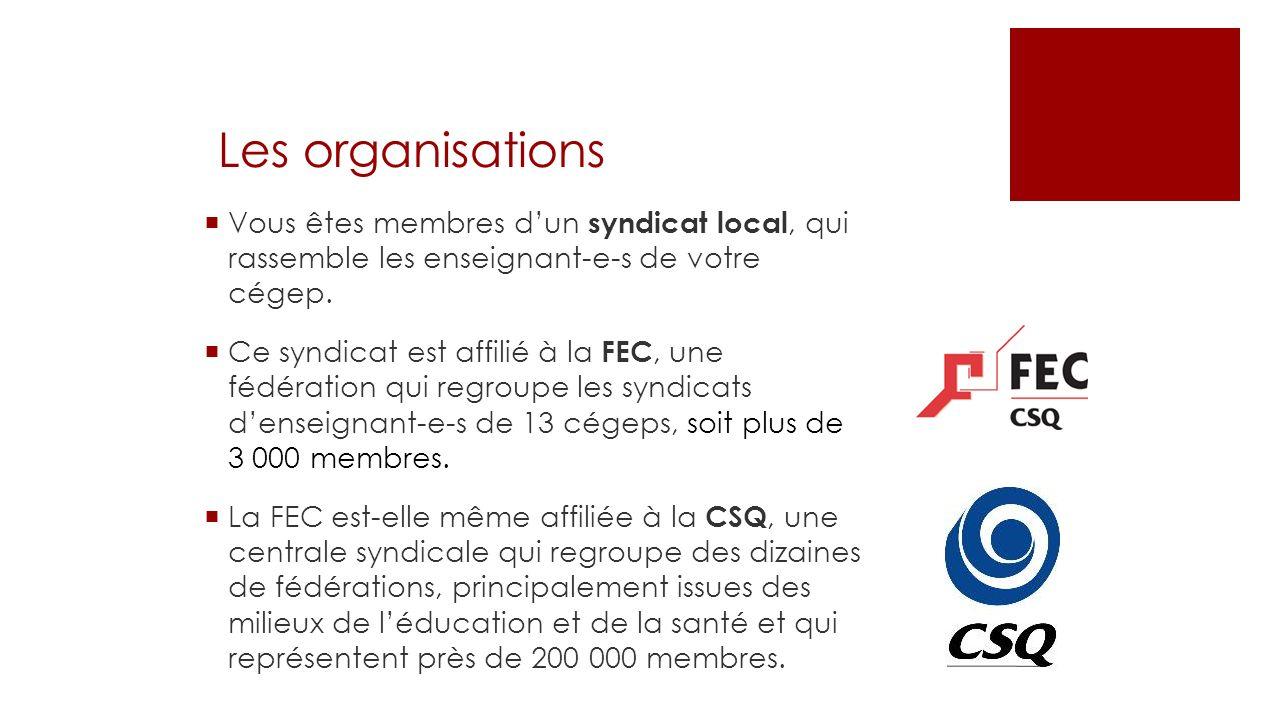 Les organisations Vous êtes membres dun syndicat local, qui rassemble les enseignant-e-s de votre cégep. Ce syndicat est affilié à la FEC, une fédérat