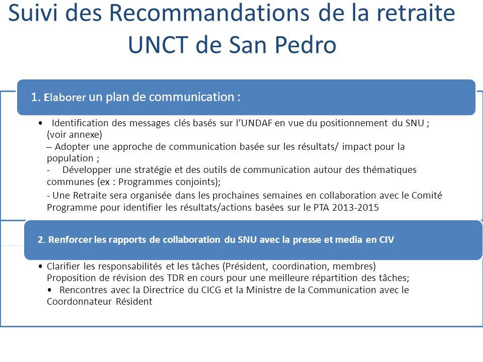 Utilisation de ONUCI FM déjà en cours et à renforcer Participation des agences aux dernières JNU (ONUDI, UNFPA, OCHA, UNOPS, HCR, OIM) Rencontre prévue entre la Chef du Bureau de l information Publique et UNCG 4.