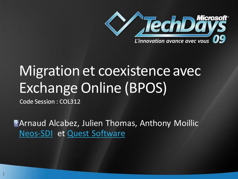 2 Agenda Scénarios de migration vers Microsoft Online Coexistence et processus de migration Planification Préparation Etablir la coexistence Migration des données Post-migration Migration depuis dautres environnements