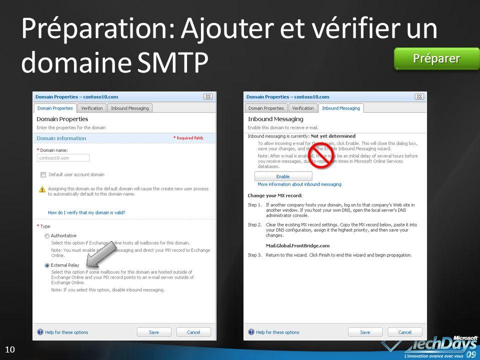 10 Préparation: Ajouter et vérifier un domaine SMTP PréparerPréparer