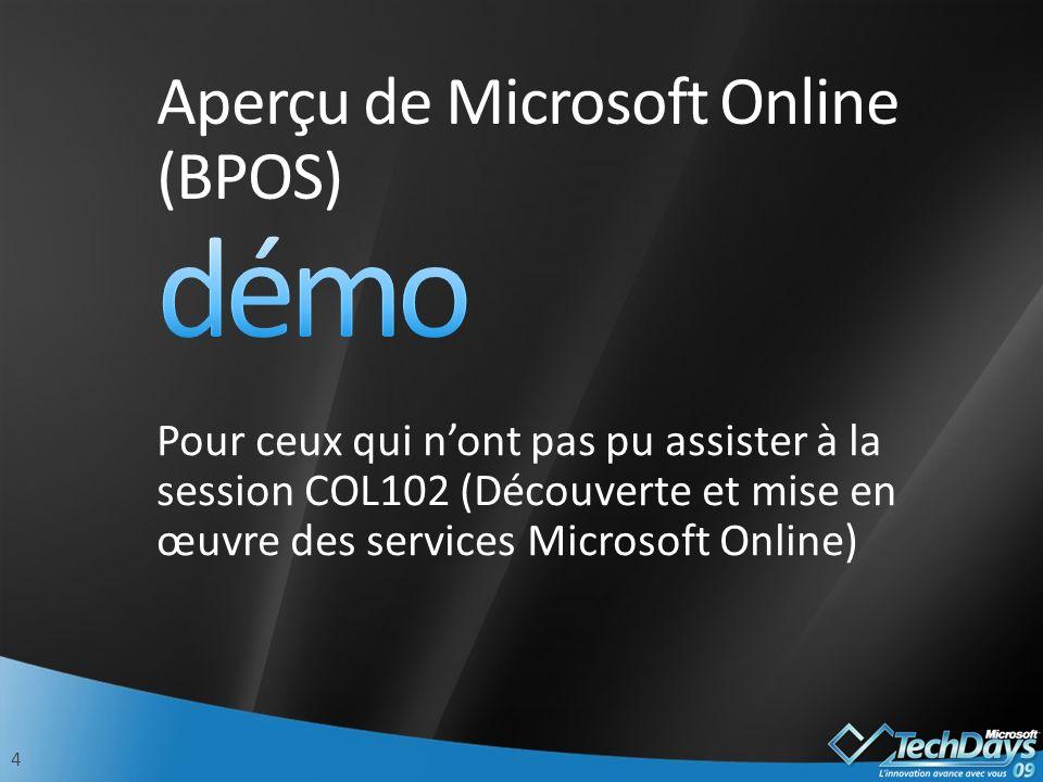 4 Aperçu de Microsoft Online (BPOS) Pour ceux qui nont pas pu assister à la session COL102 (Découverte et mise en œuvre des services Microsoft Online)