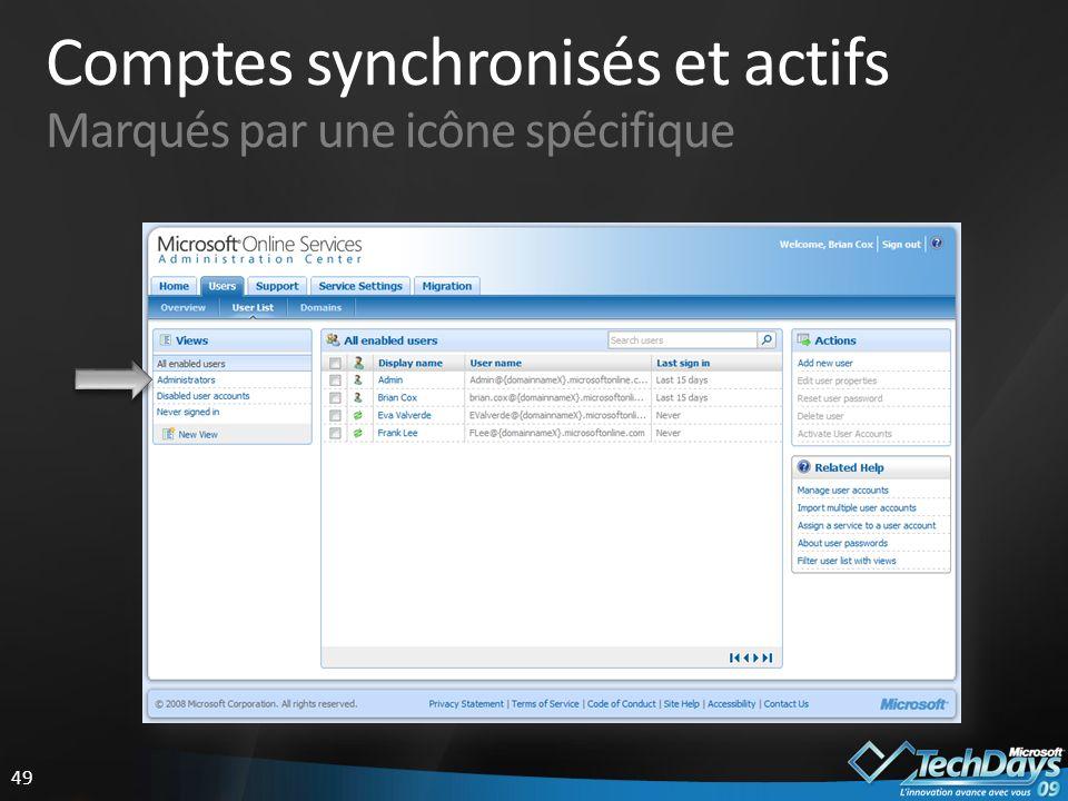 49 Comptes synchronisés et actifs Marqués par une icône spécifique