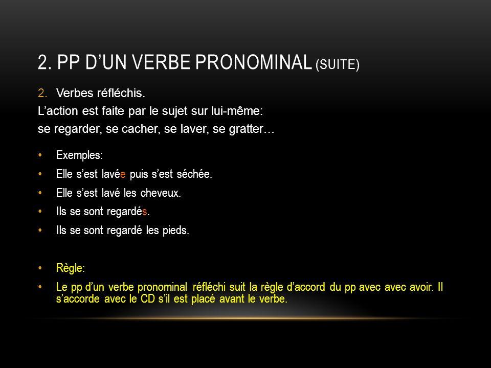 2.PP DUN VERBE PRONOMINAL (SUITE) 3.Verbes réciproques.