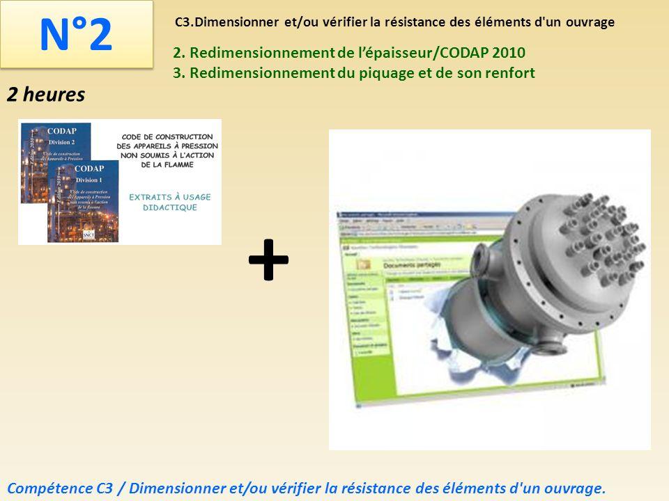 C3.Dimensionner et/ou vérifier la résistance des éléments d'un ouvrage N°2 2. Redimensionnement de lépaisseur/CODAP 2010 3. Redimensionnement du piqua