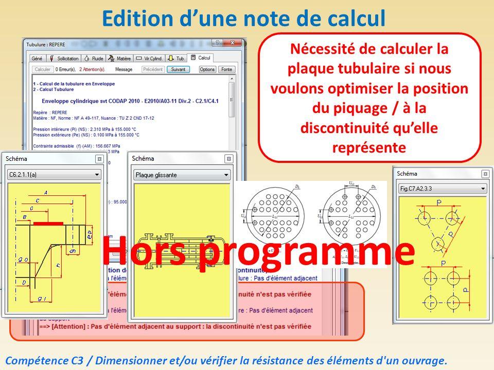Edition dune note de calcul Nécessité de calculer la plaque tubulaire si nous voulons optimiser la position du piquage / à la discontinuité quelle rep