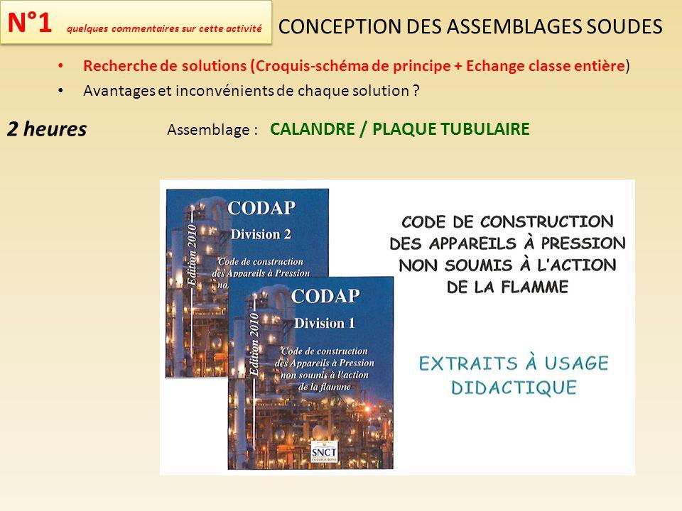 N°1 quelques commentaires sur cette activité CONCEPTION DES ASSEMBLAGES SOUDES Recherche de solutions (Croquis-schéma de principe + Echange classe ent