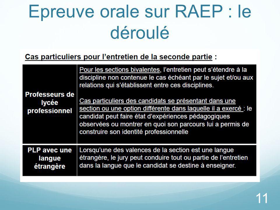 Epreuve orale sur RAEP : le déroulé 11