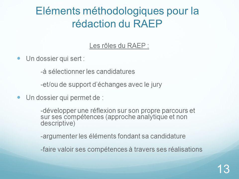 Eléments méthodologiques pour la rédaction du RAEP Les rôles du RAEP : Un dossier qui sert : -à sélectionner les candidatures -et/ou de support déchan