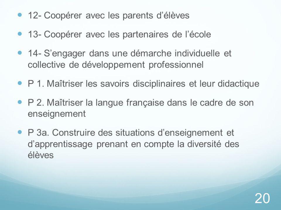 12- Coopérer avec les parents délèves 13- Coopérer avec les partenaires de lécole 14- Sengager dans une démarche individuelle et collective de dévelop