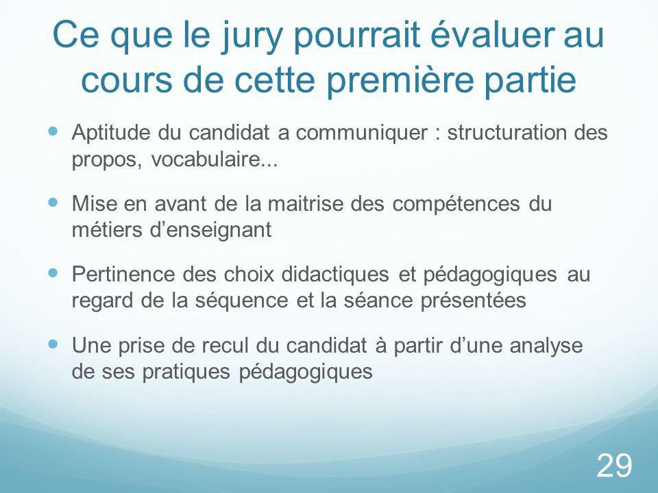 Ce que le jury pourrait évaluer au cours de cette première partie Aptitude du candidat a communiquer : structuration des propos, vocabulaire... Mise e