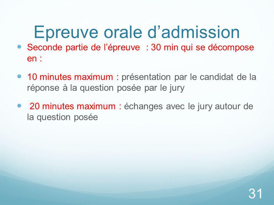 Epreuve orale dadmission Seconde partie de lépreuve : 30 min qui se décompose en : 10 minutes maximum : présentation par le candidat de la réponse à l
