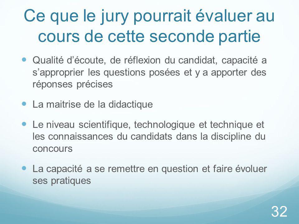 Ce que le jury pourrait évaluer au cours de cette seconde partie Qualité découte, de réflexion du candidat, capacité a sapproprier les questions posée