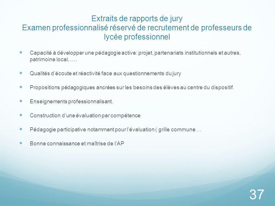 Extraits de rapports de jury Examen professionnalisé réservé de recrutement de professeurs de lycée professionnel Capacité à développer une pédagogie