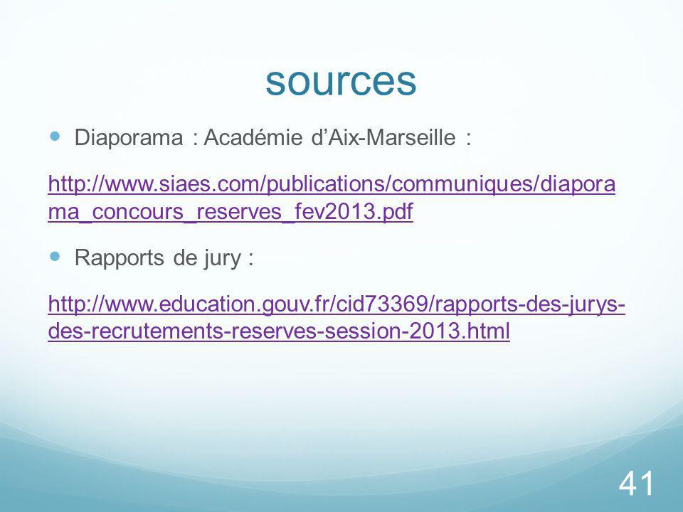 sources Diaporama : Académie dAix-Marseille : http://www.siaes.com/publications/communiques/diapora ma_concours_reserves_fev2013.pdf Rapports de jury