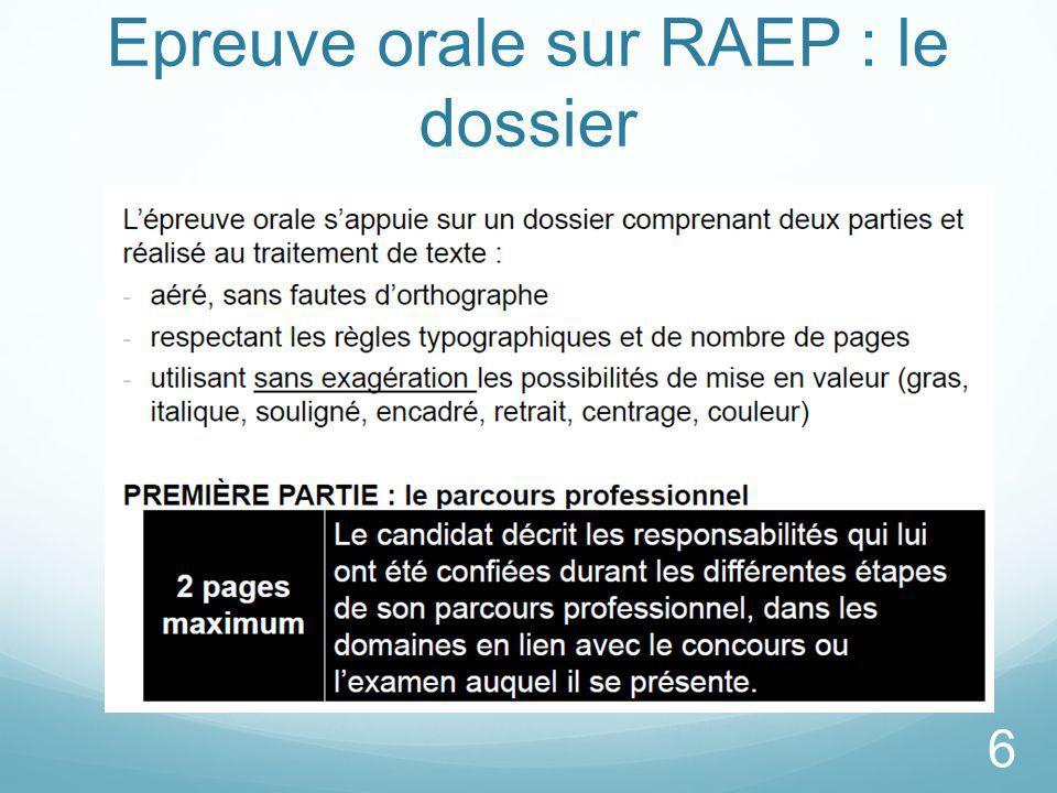 Epreuve orale sur RAEP : le dossier 6