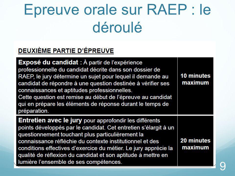 Epreuve orale sur RAEP : le déroulé 10