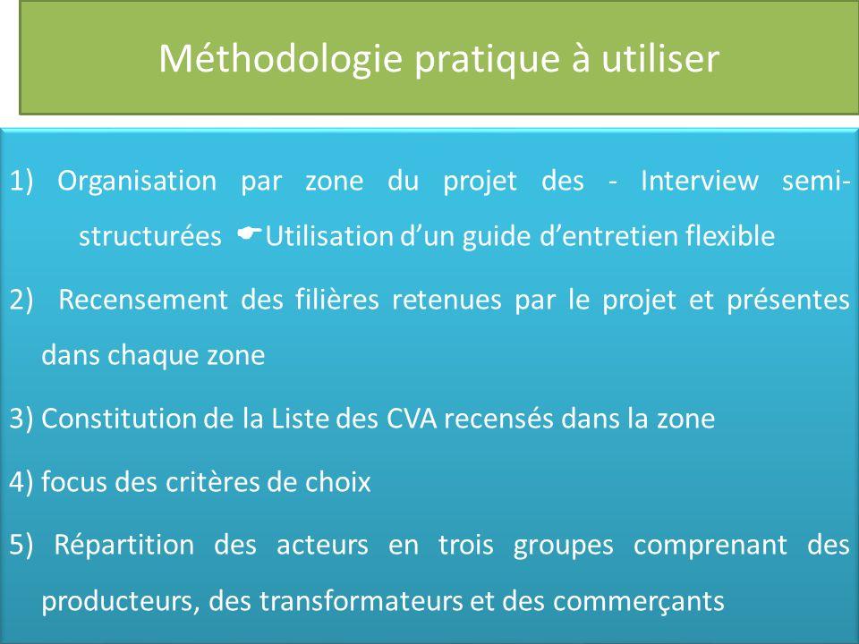 Méthodologie pratique à utiliser 1) Organisation par zone du projet des - Interview semi- structurées Utilisation dun guide dentretien flexible 2) Rec
