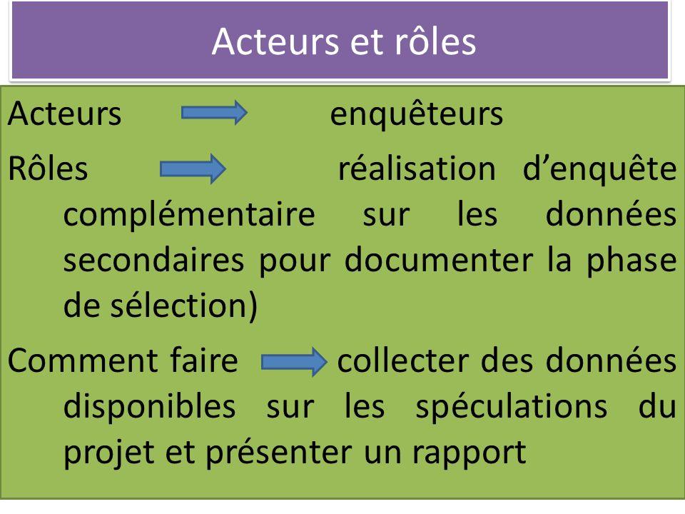 Acteurs et rôles Acteurs enquêteurs Rôles réalisation denquête complémentaire sur les données secondaires pour documenter la phase de sélection) Comme