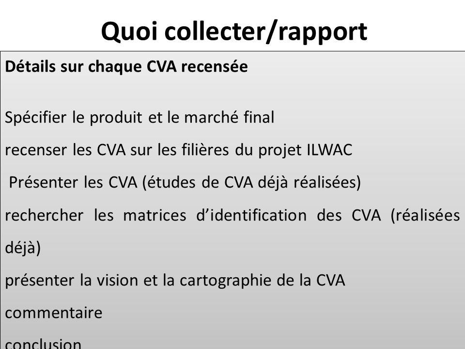 Détails sur chaque CVA recensée Spécifier le produit et le marché final recenser les CVA sur les filières du projet ILWAC Présenter les CVA (études de