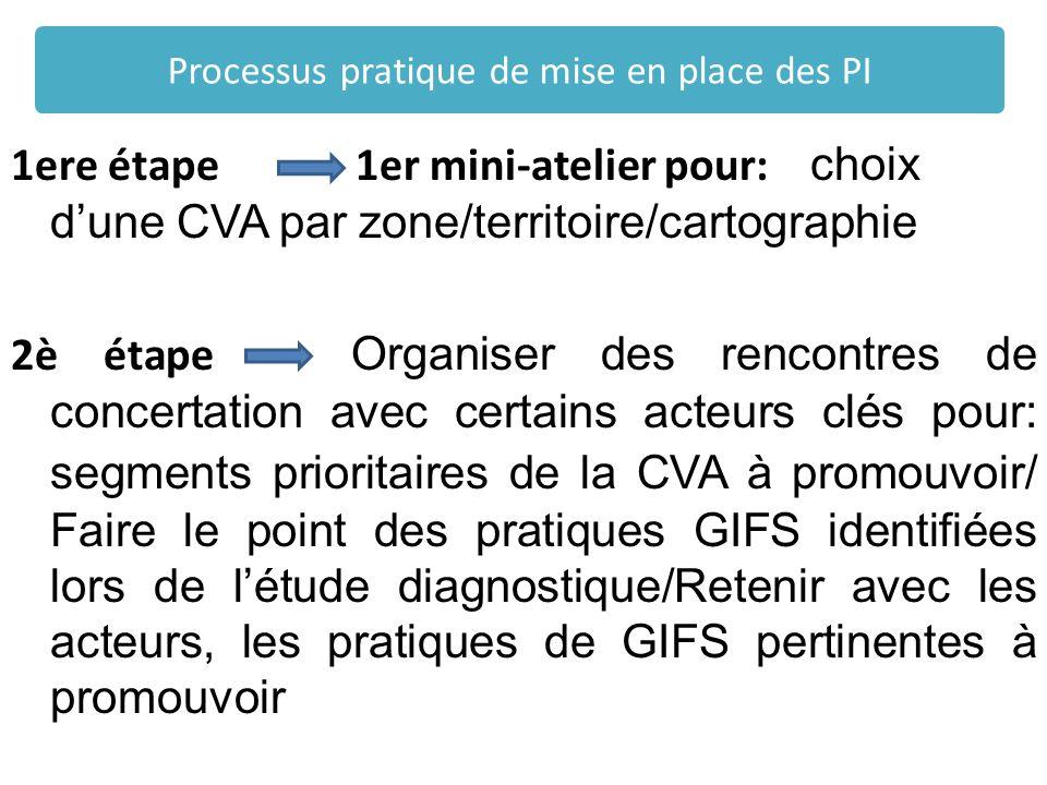 1ere étape 1er mini-atelier pour: choix dune CVA par zone/territoire/cartographie 2è étape Organiser des rencontres de concertation avec certains acte