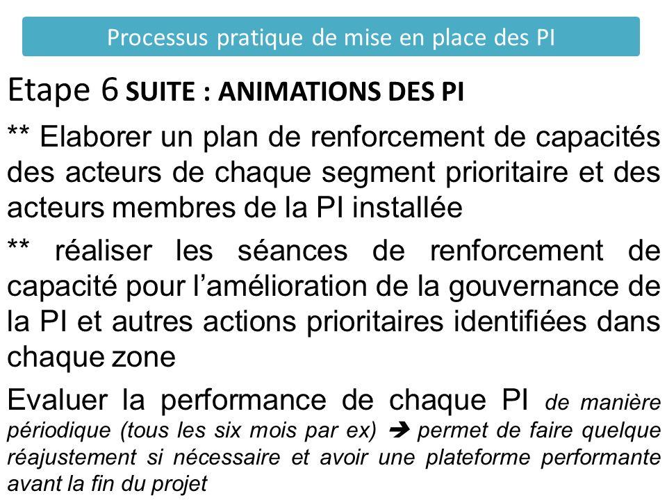 Etape 6 SUITE : ANIMATIONS DES PI ** Elaborer un plan de renforcement de capacités des acteurs de chaque segment prioritaire et des acteurs membres de