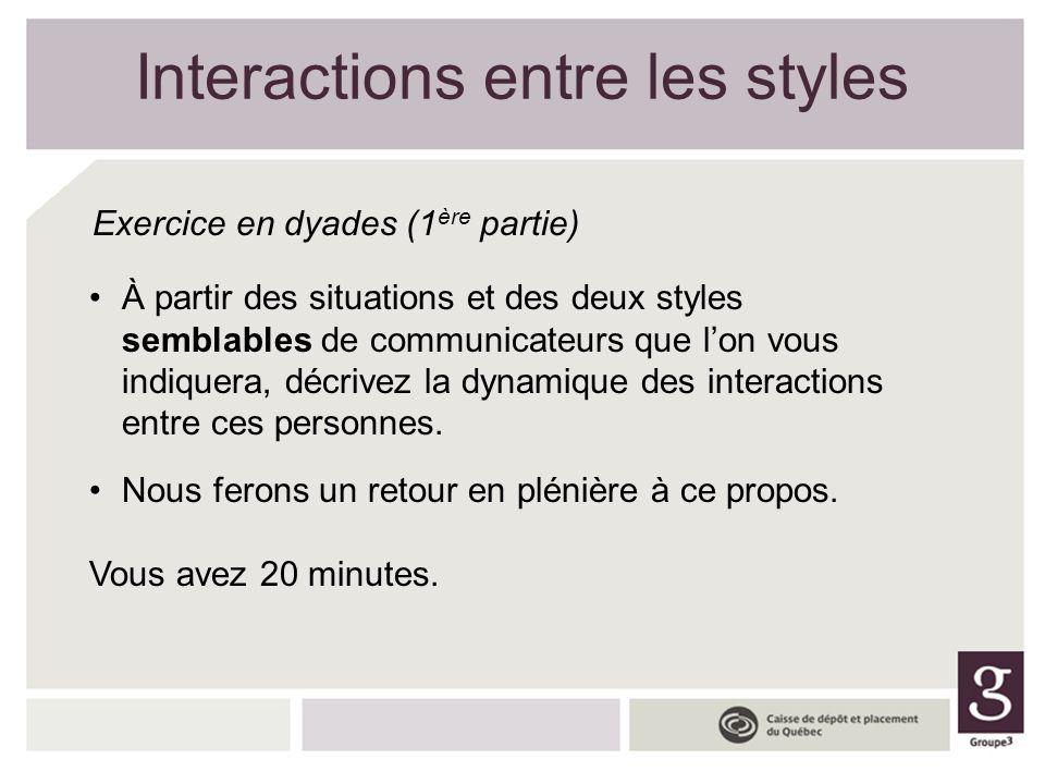 Interactions entre les styles Exercice en dyades (1 ère partie) À partir des situations et des deux styles semblables de communicateurs que lon vous i
