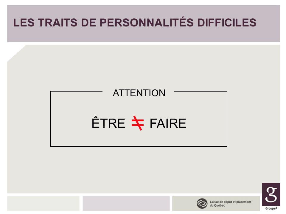 LES TRAITS DE PERSONNALITÉS DIFFICILES ÊTREFAIRE ATTENTION