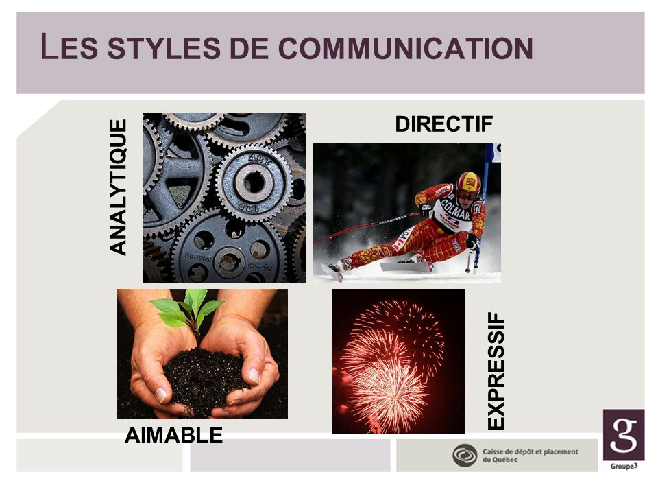 AIMABLE ANALYTIQUE DIRECTIF EXPRESSIF L ES STYLES DE COMMUNICATION