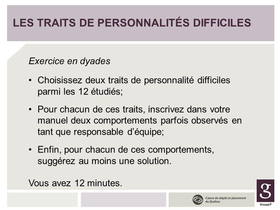 Choisissez deux traits de personnalité difficiles parmi les 12 étudiés; Pour chacun de ces traits, inscrivez dans votre manuel deux comportements parf