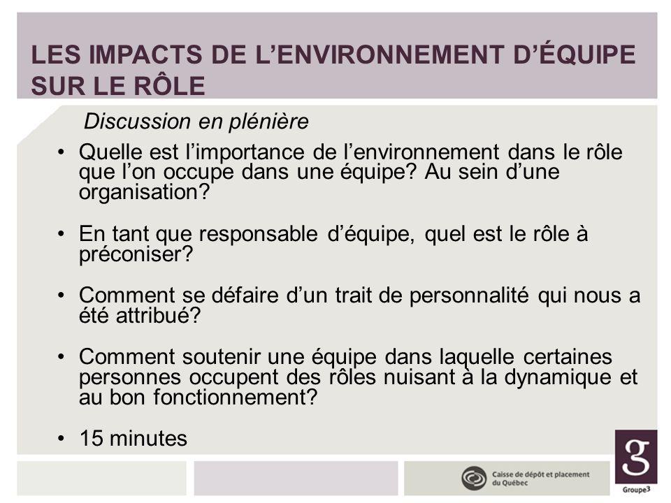 Quelle est limportance de lenvironnement dans le rôle que lon occupe dans une équipe? Au sein dune organisation? En tant que responsable déquipe, quel