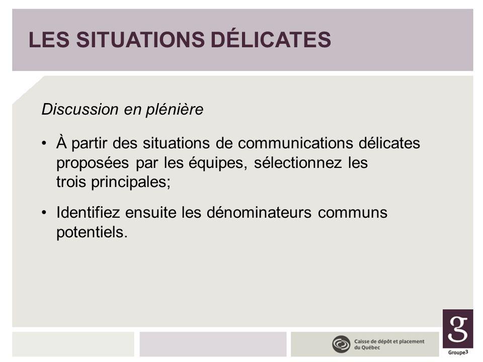 LES SITUATIONS DÉLICATES Discussion en plénière À partir des situations de communications délicates proposées par les équipes, sélectionnez les trois