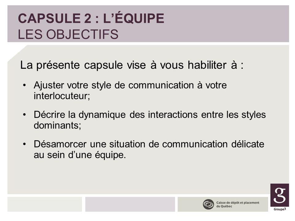 Ajuster votre style de communication à votre interlocuteur; Décrire la dynamique des interactions entre les styles dominants; Désamorcer une situation