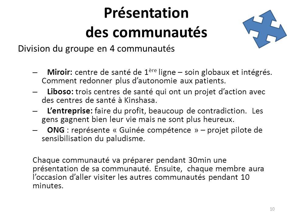 Présentation des communautés Division du groupe en 4 communautés – Miroir: centre de santé de 1 ère ligne – soin globaux et intégrés. Comment redonner