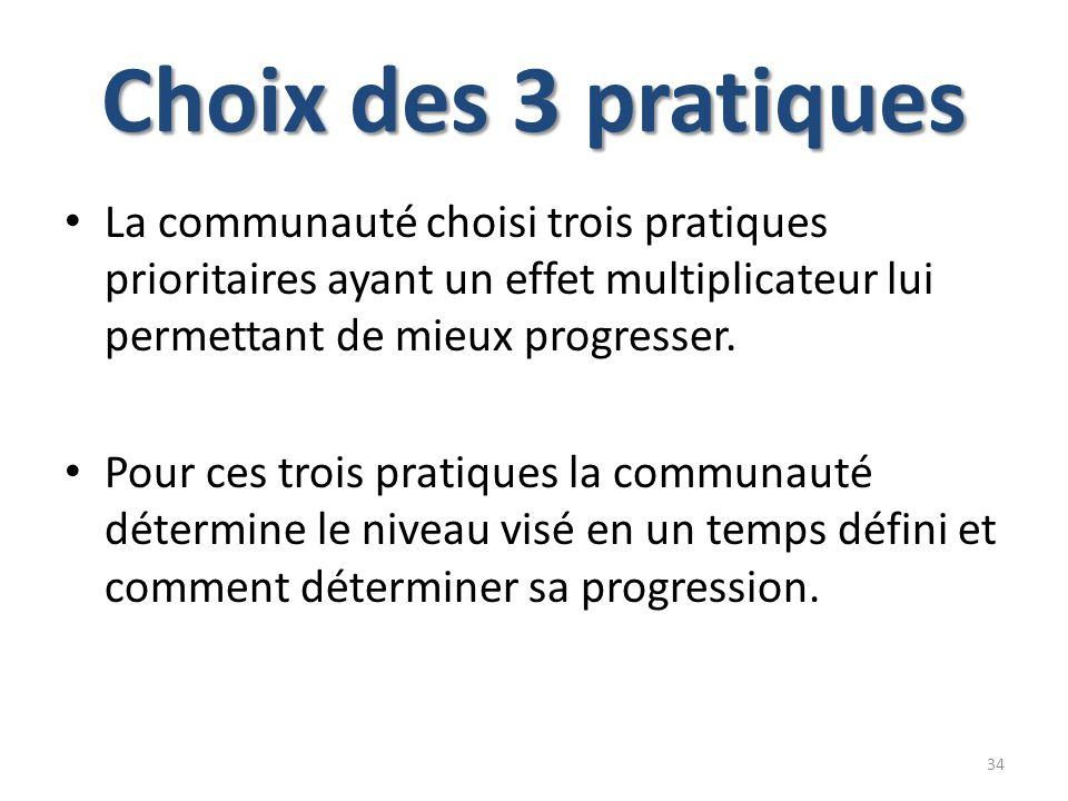 Choix des 3 pratiques La communauté choisi trois pratiques prioritaires ayant un effet multiplicateur lui permettant de mieux progresser. Pour ces tro