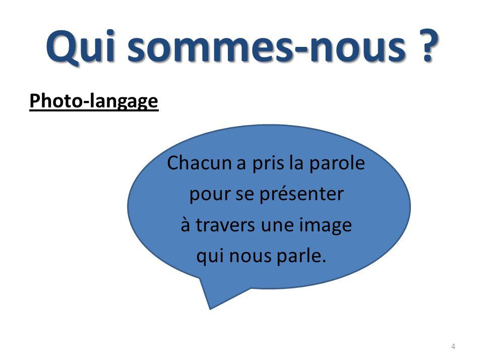 Qui sommes-nous ? Photo-langage Chacun a pris la parole pour se présenter à travers une image qui nous parle. 4