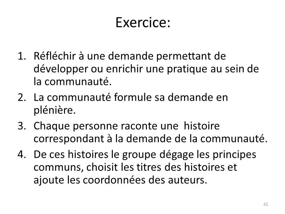 Exercice: 1.Réfléchir à une demande permettant de développer ou enrichir une pratique au sein de la communauté. 2.La communauté formule sa demande en