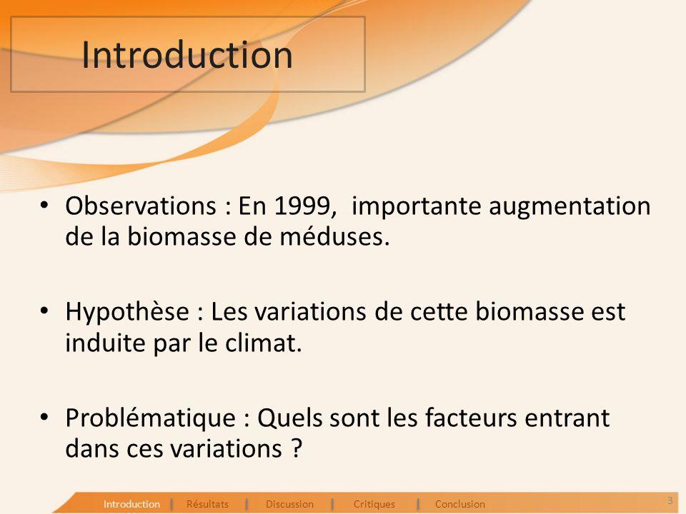 Introduction Observations : En 1999, importante augmentation de la biomasse de méduses. Hypothèse : Les variations de cette biomasse est induite par l