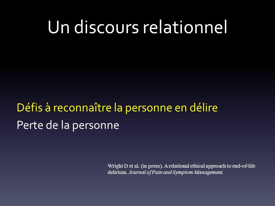 Un discours relationnel Défis à reconnaître la personne en délire Perte de la personne Wright D et al. (in press). A relational ethical approach to en
