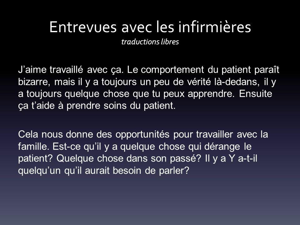 Entrevues avec les infirmières traductions libres Jaime travaillé avec ça. Le comportement du patient paraît bizarre, mais il y a toujours un peu de v