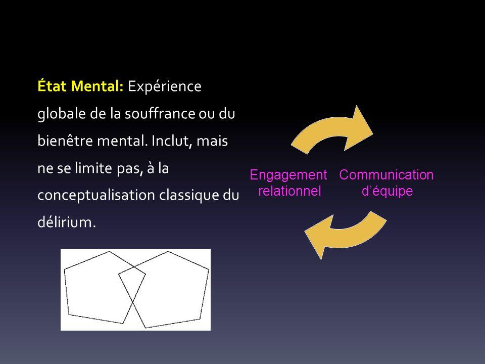 État Mental: Expérience globale de la souffrance ou du bienêtre mental. Inclut, mais ne se limite pas, à la conceptualisation classique du délirium. C