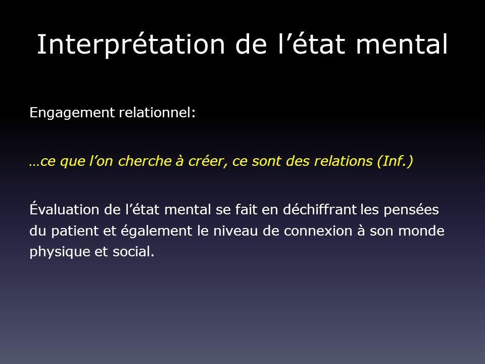 Interprétation de létat mental Engagement relationnel: …ce que lon cherche à créer, ce sont des relations (Inf.) Évaluation de létat mental se fait en