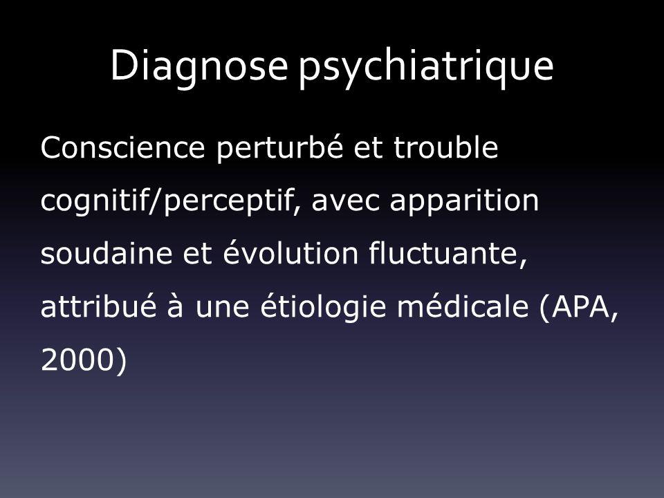 Diagnose psychiatrique Conscience perturbé et trouble cognitif/perceptif, avec apparition soudaine et évolution fluctuante, attribué à une étiologie m